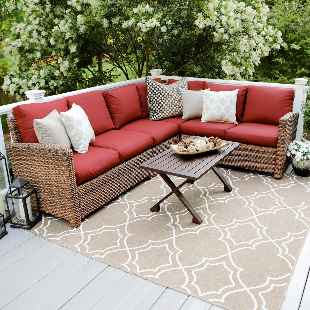 5 Piece Wicker Outdoor Sectional Set
