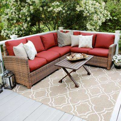 Dalton 5-Piece Wicker Outdoor Sectional Set with Red Cushions