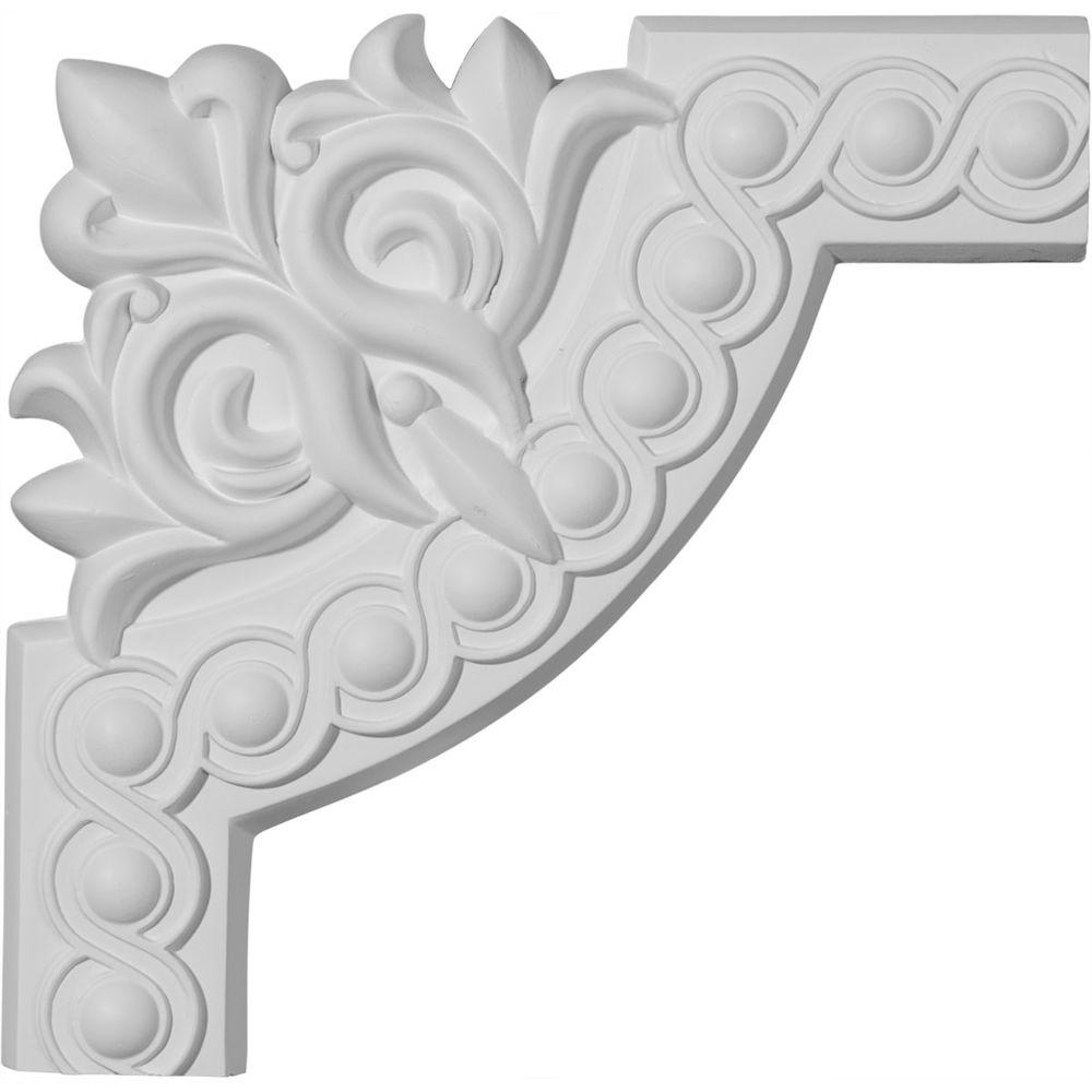 Ekena Millwork 3/4 in. x 10-1/4 in. x 10-1/4 in. Polyurethane Foster Running Coin Panel Moulding Corner