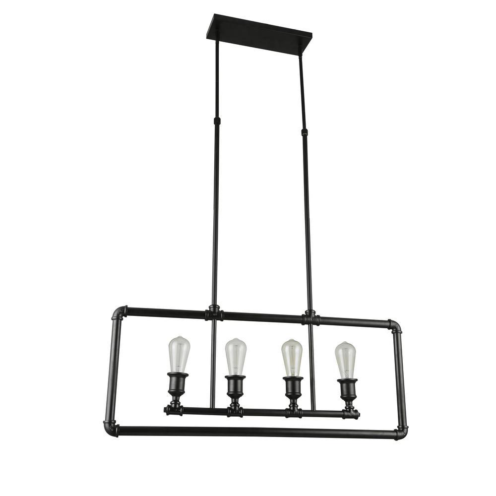 Boston Collection 4-Lights Black Pendant