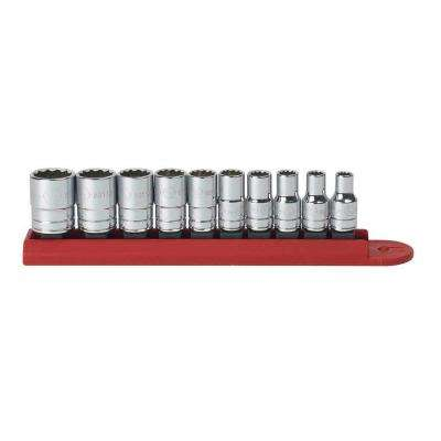 1/4 in. Drive 12-Point Socket Set (10-Piece)