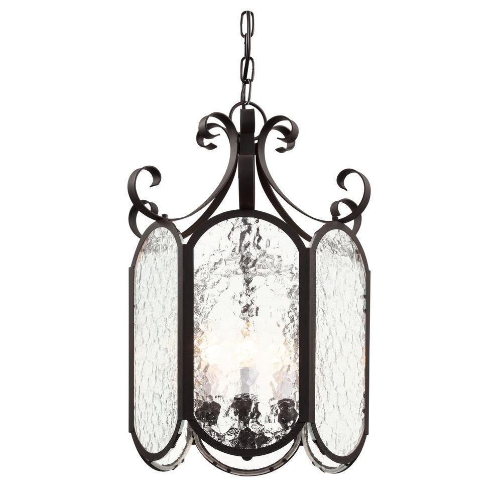 Bel Air Lighting 6-Light Black Foyer Pendant with Water Glass
