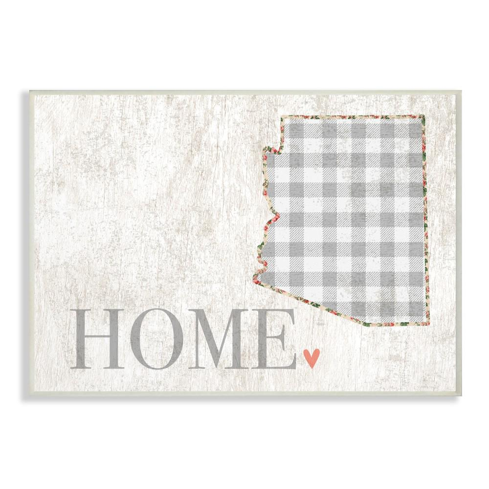 "10 in. x 15 in. ""Arizona Grey Gingham and Floral Heart"