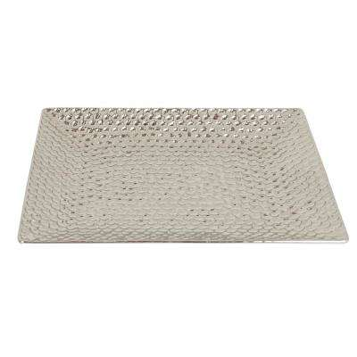 Hammered Plated Silver Ceramic Tray