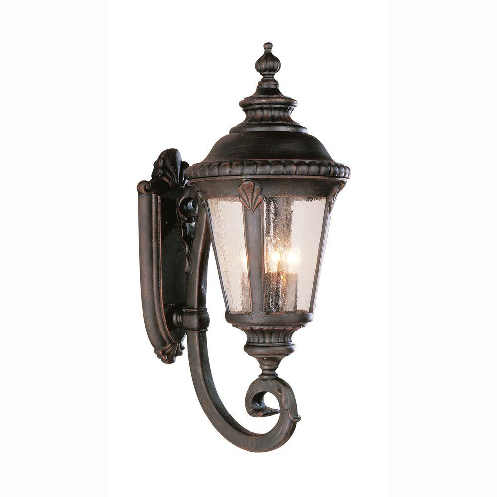 Breeze Way 4-Light Outdoor Rust Coach Lantern Sconce with Seeded Glass