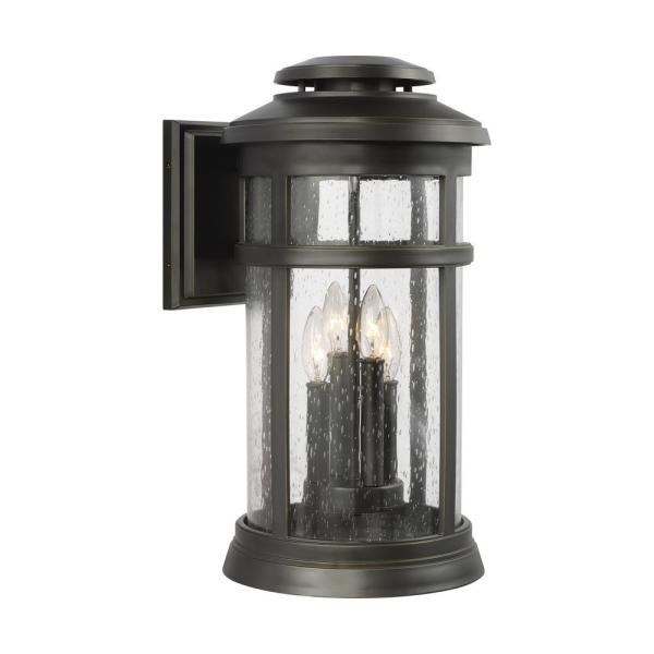 Newport 4-Light Antique Bronze Outdoor 19.875 in. Wall Lantern Sconce