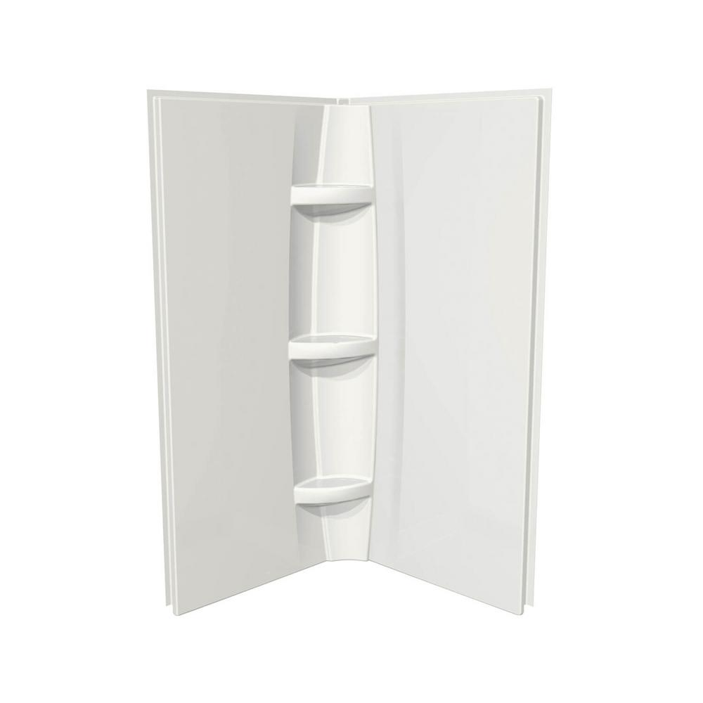 MAAX Acrylic 40 in. 40 in. x 72 in. 2-Piece Direct-to-Stud Corner Shower Surround Kit in White