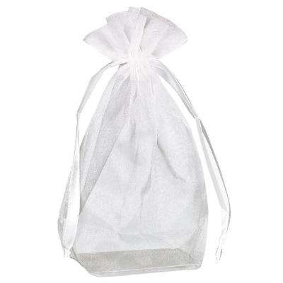 4 in. H x 5.5 in. D Everyday White Organza Bags with Flat Bottoms 12-Count (3-Pack)