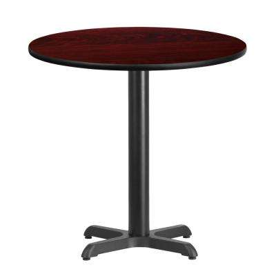 30 in. Round Mahogany Laminate Table Top with 22 in. x 22 in. Table Height Base