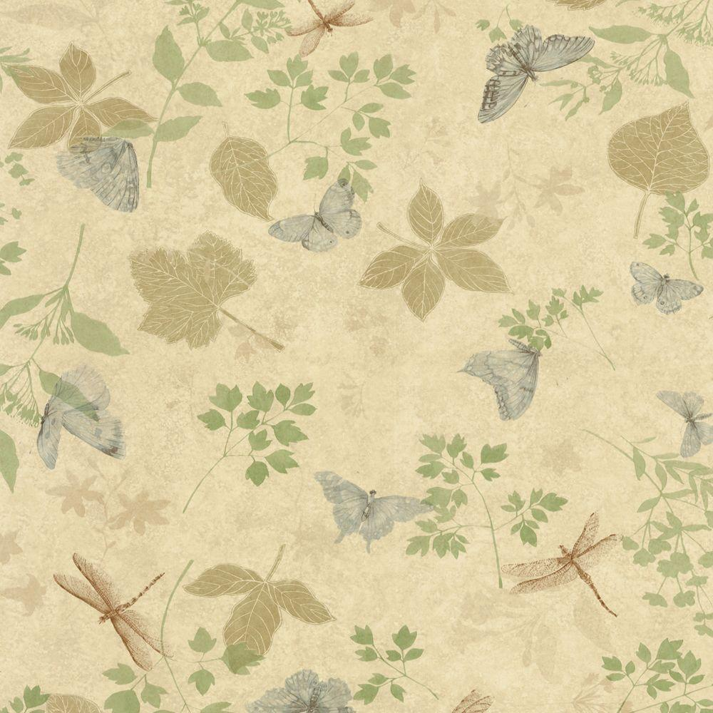 The Wallpaper Company 56 sq. ft. Green Bugs and Leaf Wallpaper-DISCONTINUED