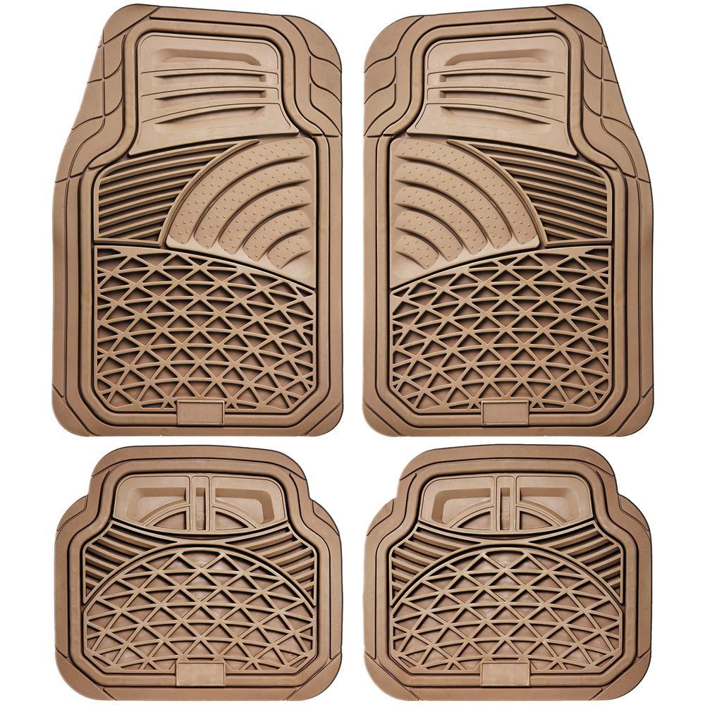 Beige 4-Piece Set Tactical Heavy Duty Rubber Floor Mats