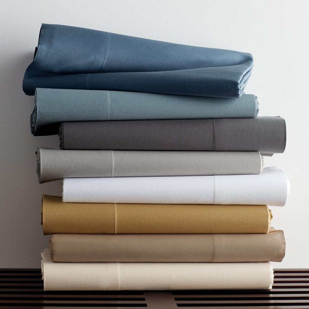 Legends Luxury Solid Blue Haze Cotton Sateen Oversized King Duvet Cover