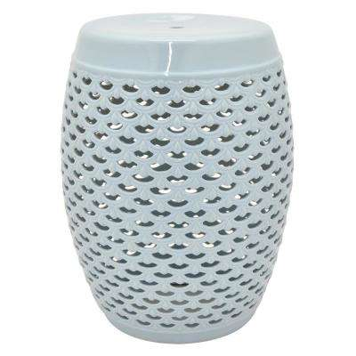 18 in. Light Blue Ceramic Garden Stool