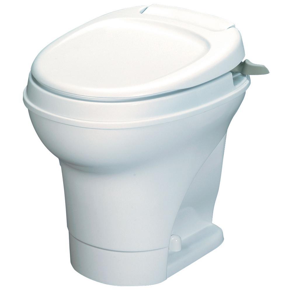 Aqua-Magic V Hand Flush RV Toilet High in White