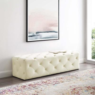 Anthem Ivory 60 in. Tufted Button Entryway Performance Velvet Bench