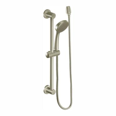 1-Spray Eco-Performance 4 in. Hand Shower with Slide Bar in Brushed Nickel
