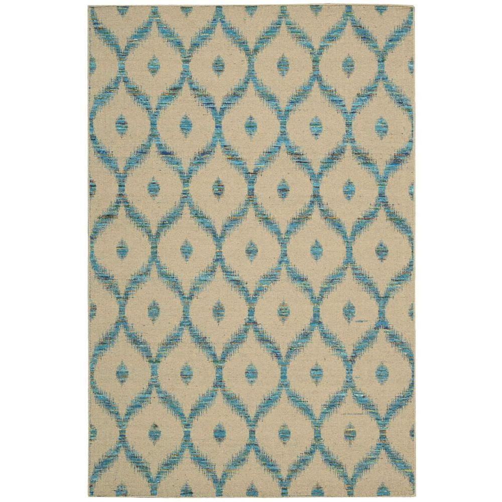 Nourison Overstock Spectrum Beige/Turquoise 5 ft. 3 in. x 7 ft. 5 in. Area Rug