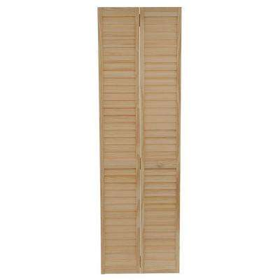 24 in. Plantation Louvered Solid Core Unfinished Wood Interior Closet Bi-fold Door