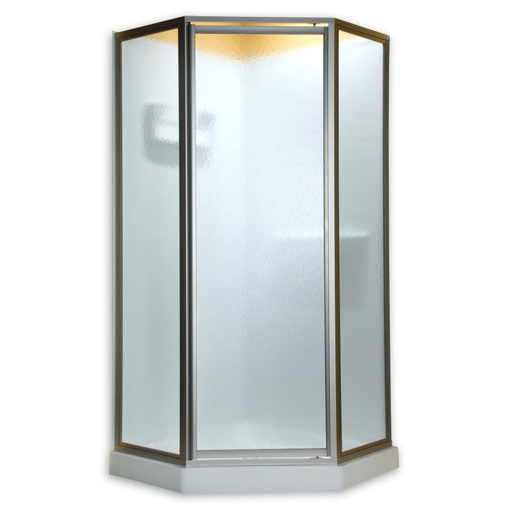 American Standard Prestige 24-1/4 in. x 68-1/2 in. Framed Neo-Angle Hinged Shower Door in Silver