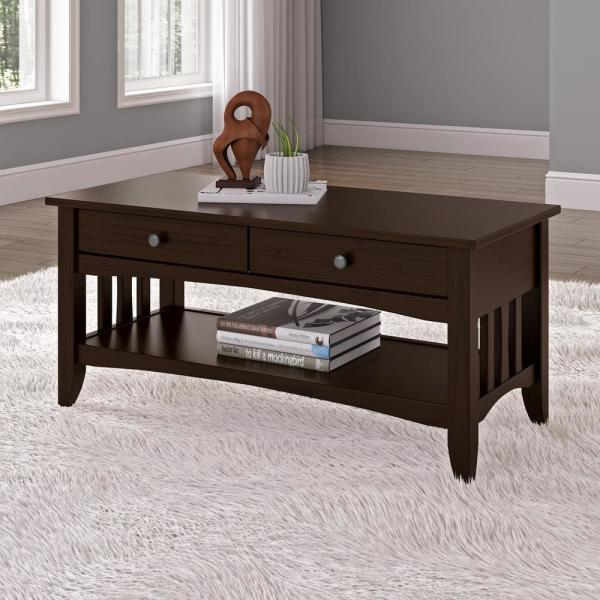 CorLiving Crestway Espresso Coffee Table with Drawers LXY-034-T