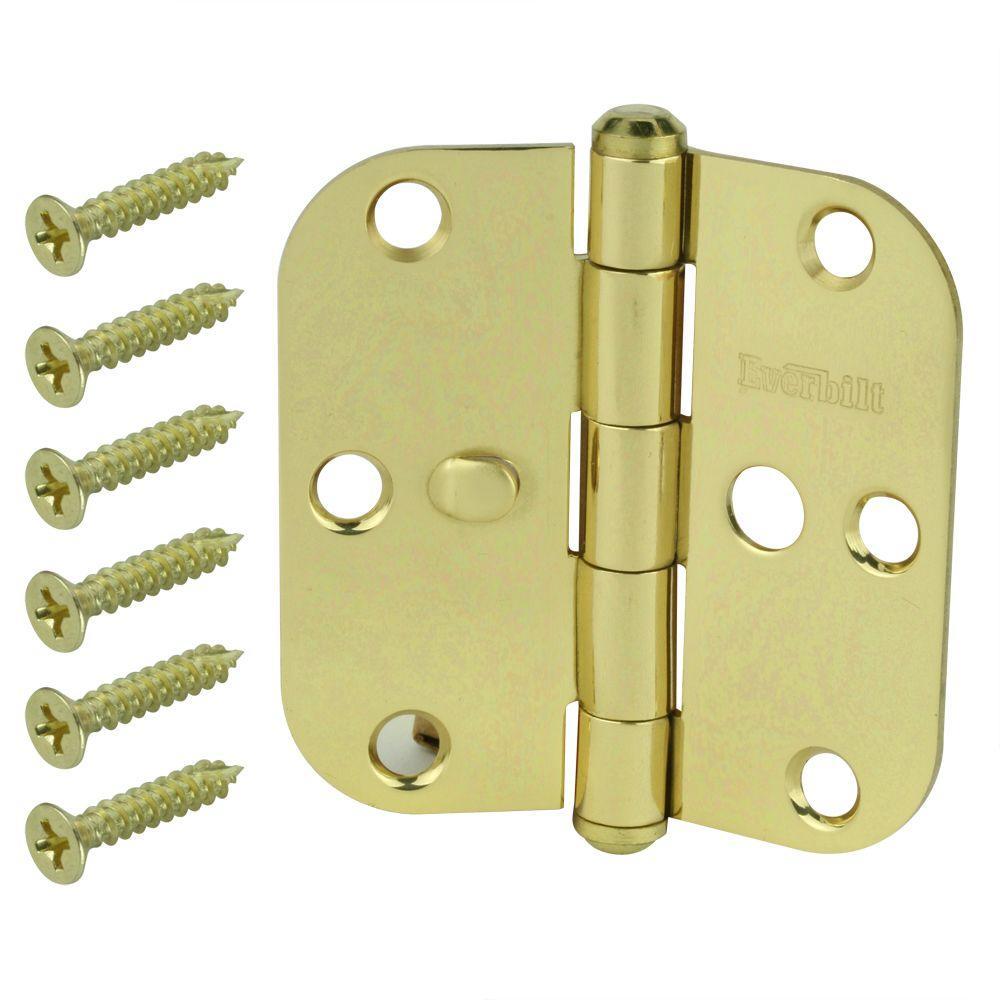 3-1/2 in. Solid Brass 5/8 in. Radius Security Door Hinge