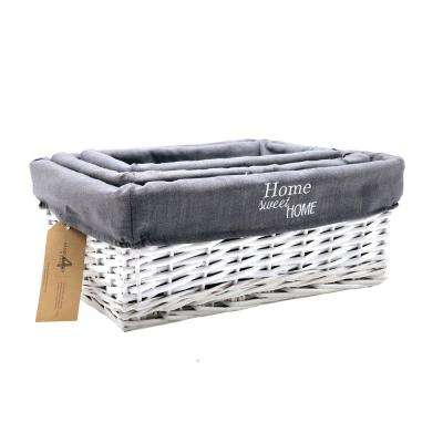 16.5 in. W x 11.8 in. D x 6.7 in. H Lined White Wicker Nested Baskets (Set of 3)