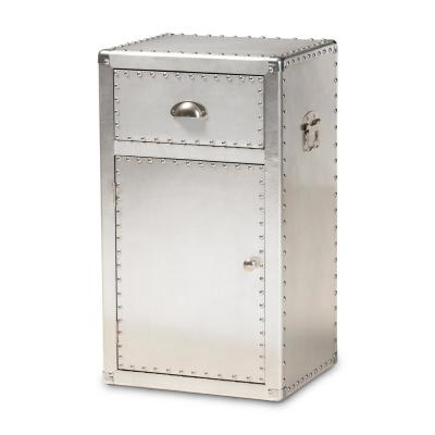 Serge Silver Storage Cabinet with 1-Drawer
