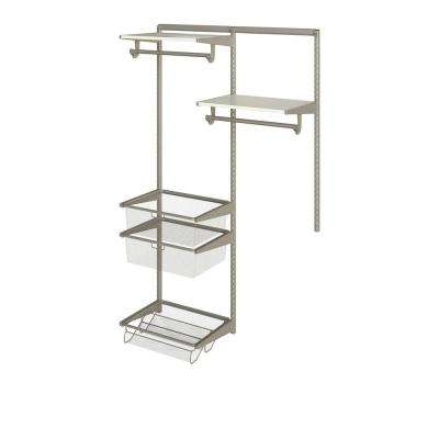 Closet Culture 16 in. D x 48 in. W x 78 in. H  with 2 White Oak Wood Shelves Steel Closet System