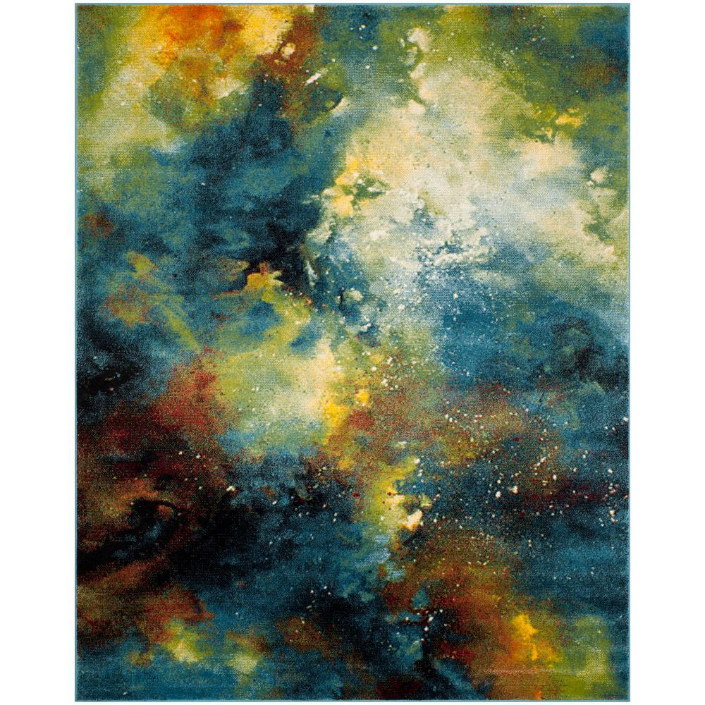Galaxy Blue/Multi 8 ft. x 10 ft. Area Rug
