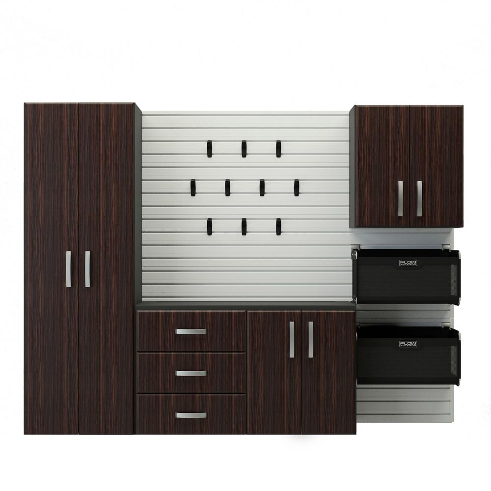 Flow Wall Deluxe Modular Wall Mounted Garage Cabinet Storage Set with Accessories in Espresso (17-Piece)