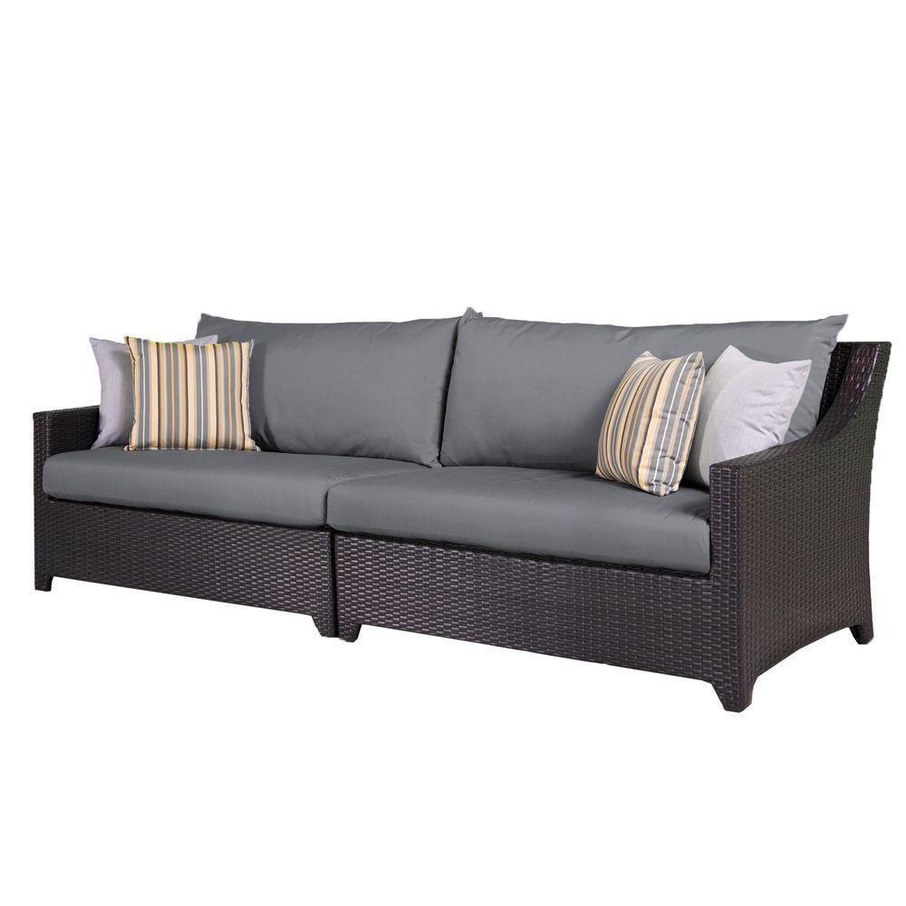 Rst Brands Deco Patio Sofa With Charcoal Grey Cushions Op