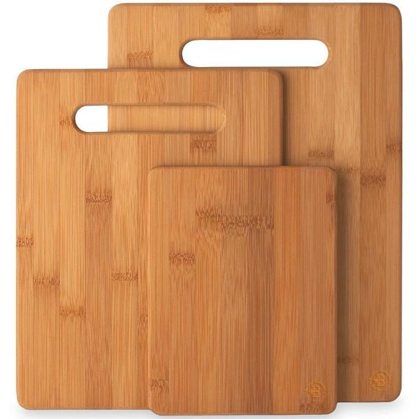 3-Piece Bamboo Cutting Board Set - Wooden Kitchen Boards for Food Prep. 3 sizes 9.5 x 13, 8.5 x 11 and 6 x 8.