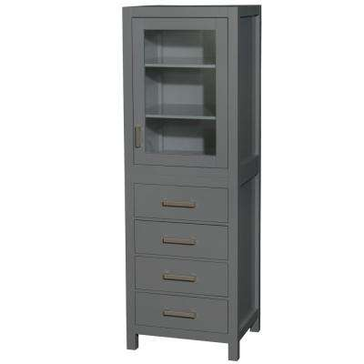 Sheffield Assembled 24 in. W x 71.25 in. H x 20 in. D Linen Tower with Shelved Cabinet Storage in Dark Gray