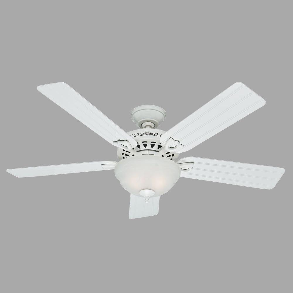 Hunter beachcomber 52 in indoor white ceiling fan with light kit hunter beachcomber 52 in indoor white ceiling fan with light kit 53122 the home depot aloadofball Images
