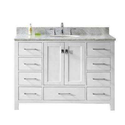 Caroline Avenue 49 in. W Bath Vanity in White with Marble Vanity Top in White with Round Basin