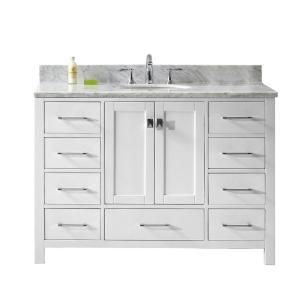 Virtu USA Caroline Avenue 48 inch W x 22 inch D Single Vanity in White with Marble Vanity... by Virtu USA