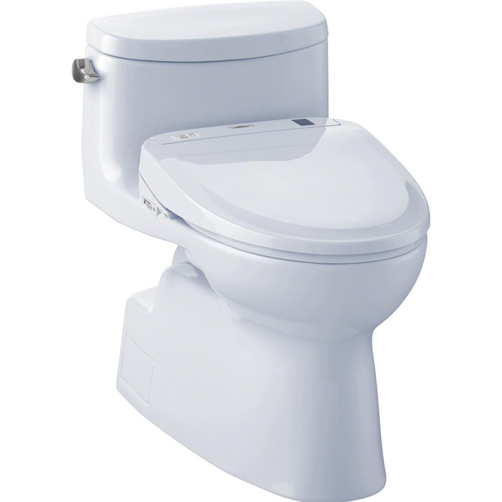 TOTO Carolina II Connect 1-Piece 1.28 GPF Elongated Toilet with Washlet S300e Bidet and CeFiOntect in Cotton White