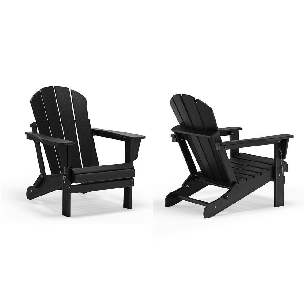 Addison Black Outdoor Folding Plastic Adirondack Chair (Set of 2)