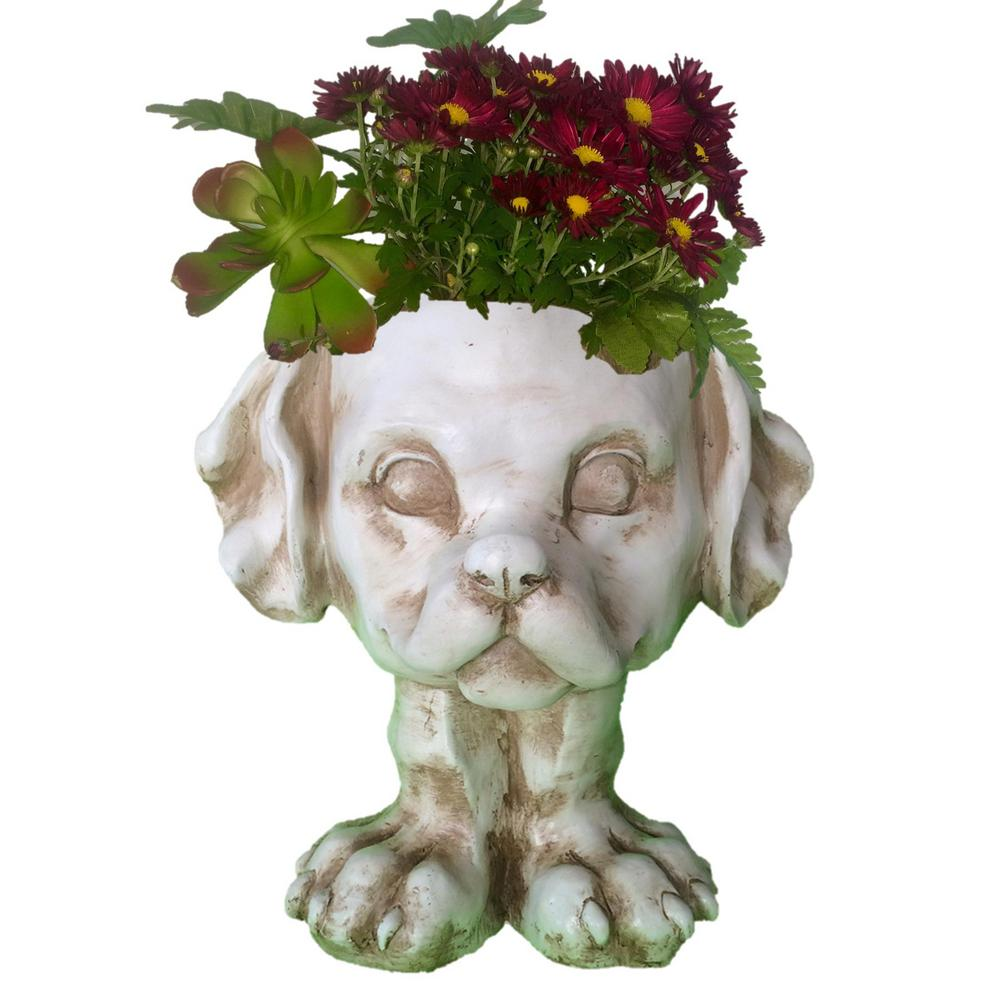 12 in. Antique White Muttley the Dog Muggly Planter Statue Holds