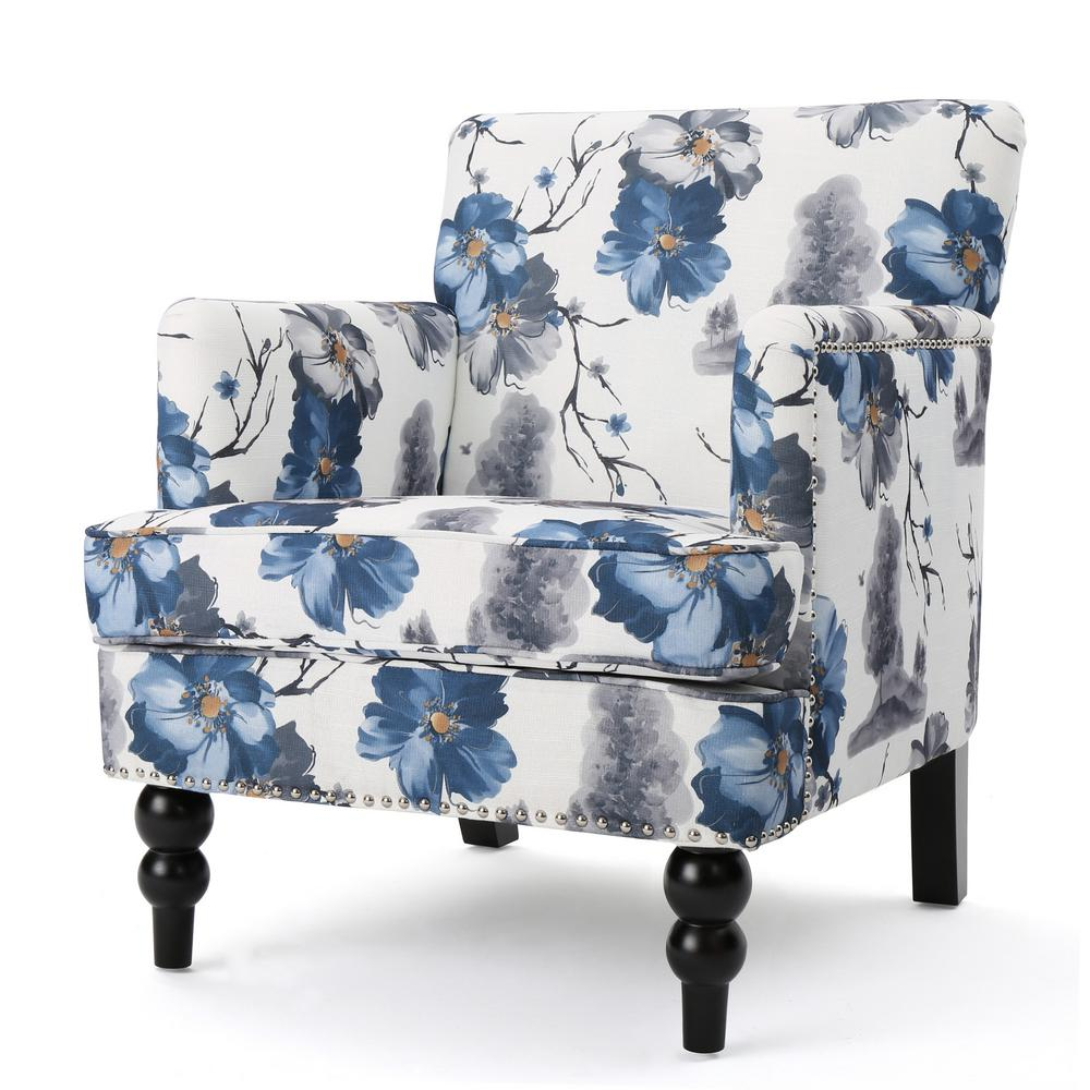 Noble House Rayna Floral Print Fabric Club Chair 300439