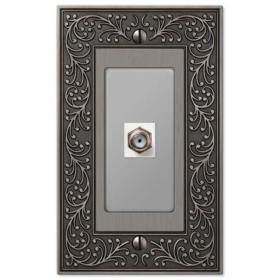 English Garden 1 Gang Coax Metal Wall Plate - Antique Nickel