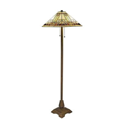 Tiffany Blue Mission 60 in. Bronze Floor Lamp