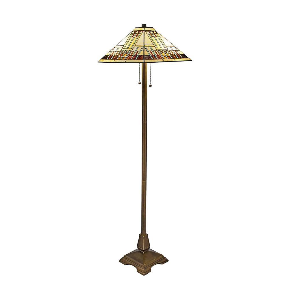 Serena D'italia Tiffany Blue Mission 60 in. Bronze Floor Lamp