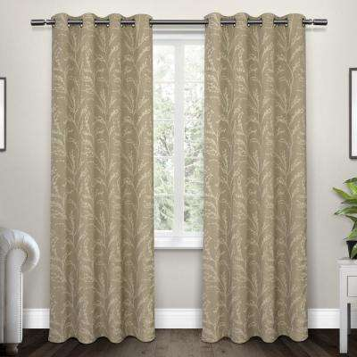 Kilberry 52 in. W x 108 in. L Woven Blackout Grommet Top Curtain Panel in Natural (2 Panels)