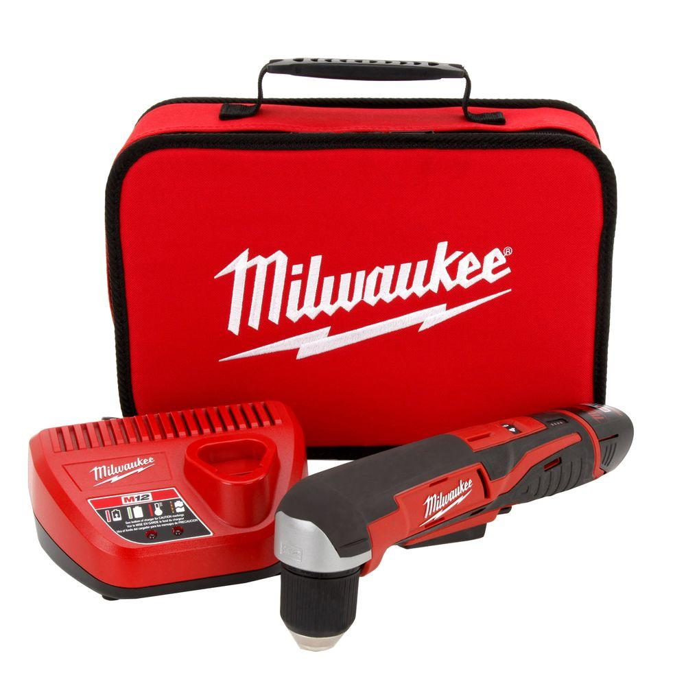 Right Angle Drills: Milwaukee M12 12-Volt Lithium-Ion 3/8 in. Cordless Right Angle Drill 2415-21