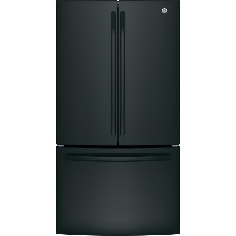 27 cu. ft. French Door Refrigerator in Black, Energy Star GE appliances provide up-to-date technology and exceptional quality to simplify the way you live. With a timeless appearance, this family of appliances is ideal for your family. And, coming from one of the most trusted names in America, you know that this entire selection of appliances is as advanced as it is practical. Color: Black.