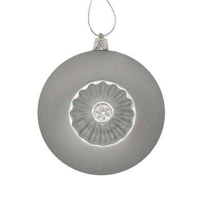 4 in. Matte Silver Retro Reflector Shatterproof Christmas Ball Ornaments (6-Count)