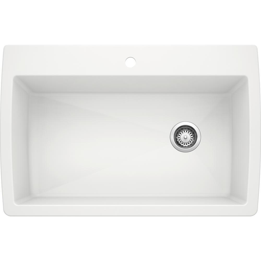 DIAMOND Silgranit Dual Mount Granite Composite 33.5 in. 1-Hole Single Bowl Kitchen Sink in White