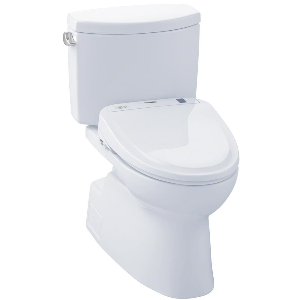TOTO Vespin II Connect 2-Piece 1.28 GPF Elongated Toilet with Washlet S300e Bidet and CeFiOntect in Cotton White