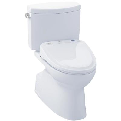 Vespin II Connect 2-Piece 1.28 GPF Elongated Toilet with Washlet S300e Bidet and CeFiOntect in Cotton White